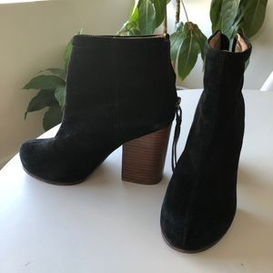 Jeffery Campbell black suede and wood booties